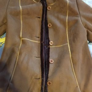Brown Furry coat buttons in front